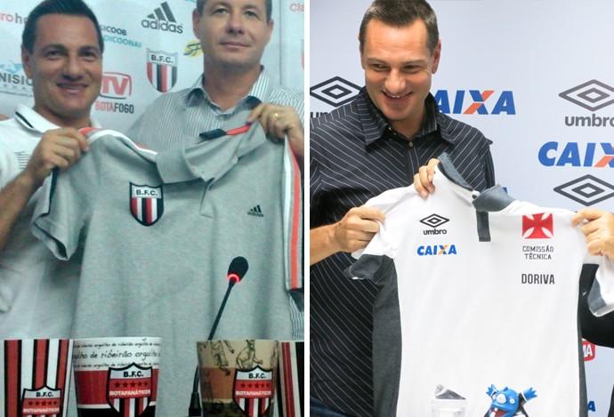 Doriva, apresentação Botafogo-SP e Vasco (Foto: Montagem sobre foto de Divulgação)