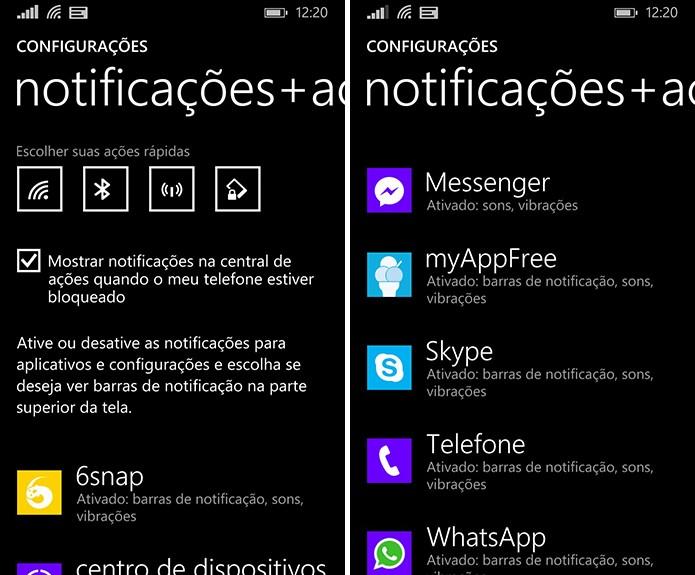 Windows Phone exibe lista com os aplicativos que podem ter as notificações personalizadas (Foto: Reprodução/Elson de Souza)