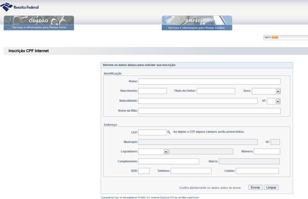 Página da Receita permite tirar o CPF gratuitamente  (Foto: Reprodução)