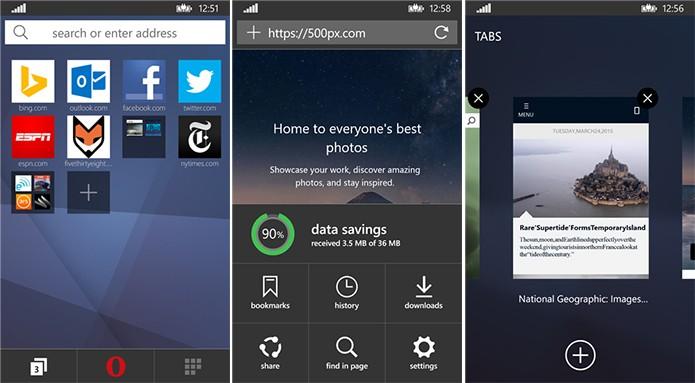 Opera Mini ganhou nova interface e funcionalidades em atualização recente (Foto: Divulgação/Windows Phone Store)