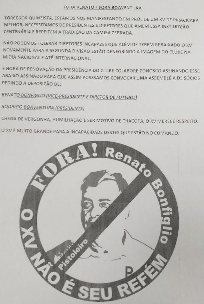XV de Piracicaba Nhô Quim Torcida Protesto (Foto: Guto Marchiori)
