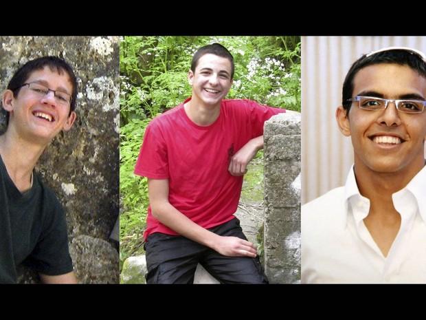 Os estudantes israelenses Naftali Frankel, Gil-ad Sha'er e Eyal Yifrach, desaparecidos na Cisjordânia. O presidente da Autoridade Palestina, Mahmud Abbas, condenou o sequestro dos jovens israelenses e criticou a amplitude das operações de busca de Israel (Foto: Reuters)