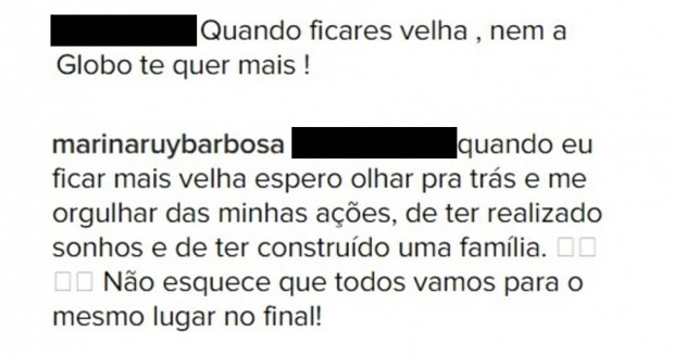 Marina Ruy Barbsoa responde comentário (Foto: Reprodução/Instagram)