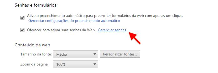 Gerenciando senhas salvas no Chrome (Foto: Reprodução/Helito Bijora)