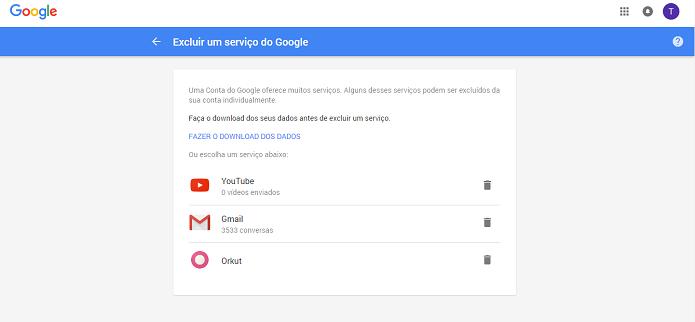 Usuário pode apagar também suas contas em vários serviços (Foto: Reprodução/Thiago Barros)