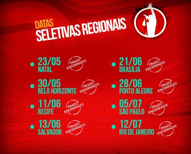 Calendário das Seletivas Regionais (Foto: The Voice Brasil/TV Globo)