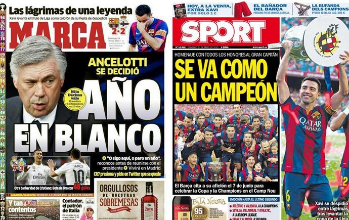 Despedida do Xavi - capas de jornal (Foto: infoesporte)