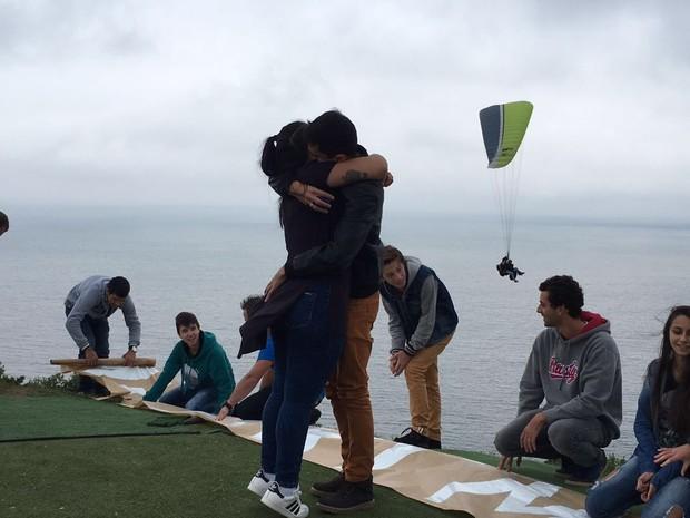 Micheli aceitou o pedido de Iury após salto surpresa do domingo (5) (Foto: Arquivo Pessoal)
