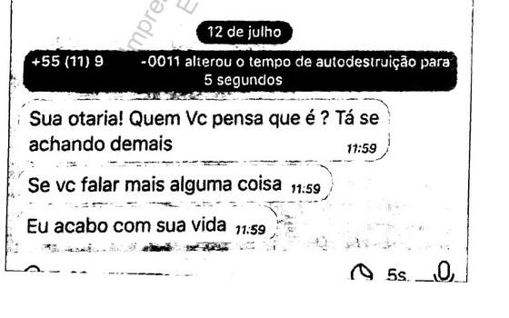 Mensagem de texto recebida pela denunciante (Foto: Reprodução)