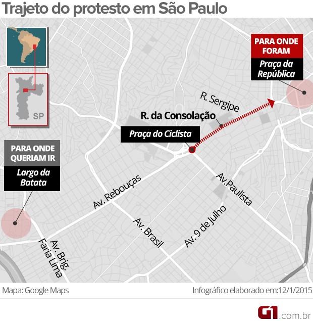 Manifestantes decidiram seguir pela Avenida Rebouças até o Largo da Batata, contrariando decisão da PM de seguir pela Rua da Consolação até a Praça da República. (Foto: Editoria Arte/G1)