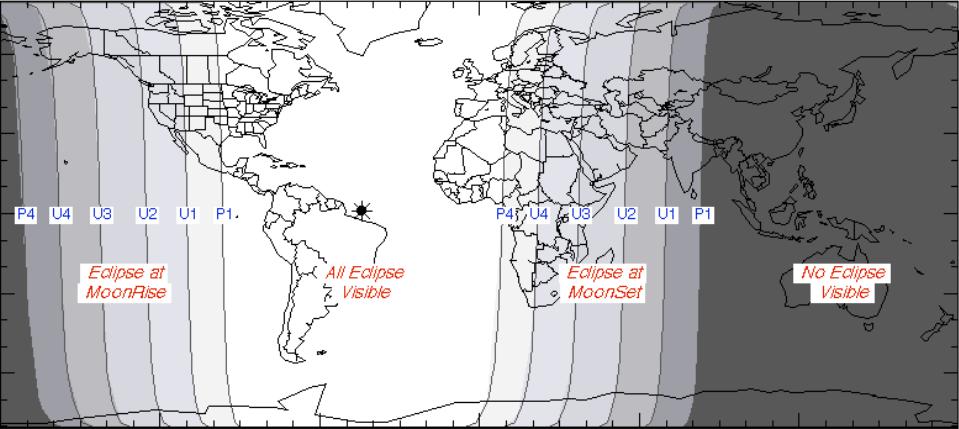 Brasil está bem no centro da região com visibilidade total do eclipse (Foto: NASA)