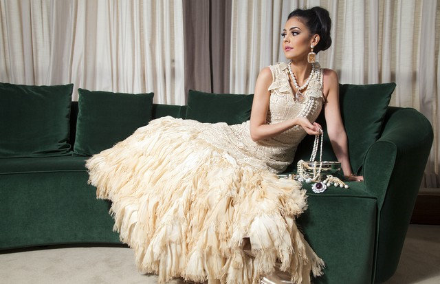 Tamara Al Gabbani com vestido Martha Medeiros (Foto: Divulgação)
