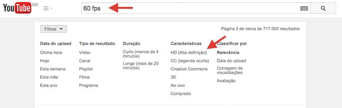 Encontrando vídeos a 60 fps no YouTube (Foto: Reprodução/Marvin Costa)
