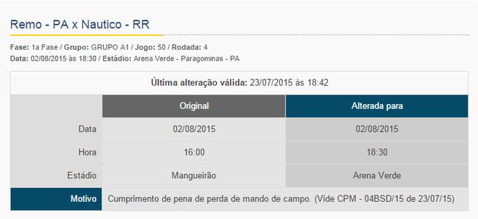 CBF confirmou alteração de horário e local do jogo entre Remo e Náutico-RR em seu site (Foto: Reprodução/CBF)