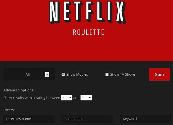 Netflix Roulette ajuda você a selecionar um filme para assistir no Netflix (Foto: Reprodução/Edivaldo Brito)