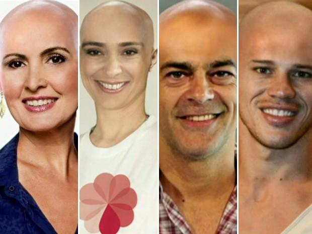 Carecas do Encontro: Fátima, Mônica Martelli, Du Moscovis, Zé Loreto (Foto: Encontro com Fátima Bernardes/ TV Globo)