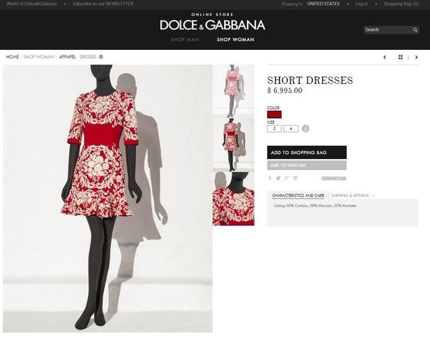 Vestido de Bruna Marquezine custa pouco mais de R$21 mil na loja on line da grife Dolce e Gabanna  (Foto: Reprodução da Internet)