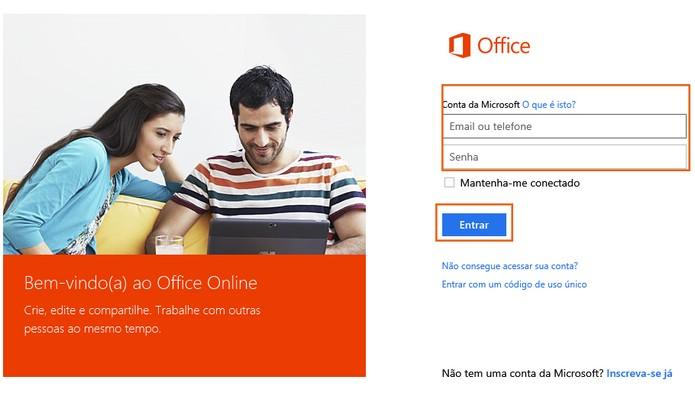 Faça o login da sua conta do Office (Foto: Reprodução/Barbara Mannara)