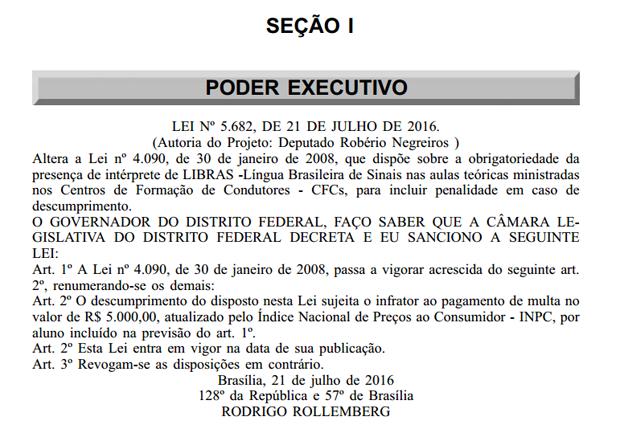 Publicação no Diário Oficial nesta sexta-feira (22) anunciando lei que obriga autoescola a ter intérprete de Libras (Foto: Reprodução)