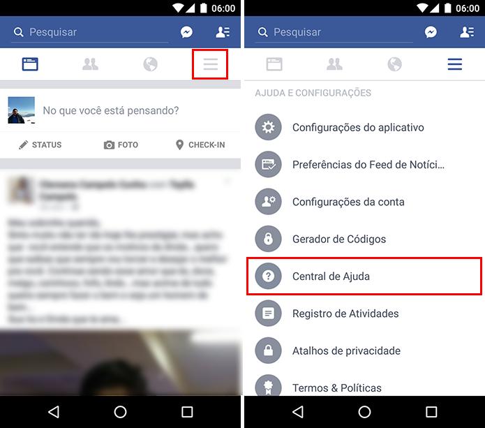 Acesse a Central de Ajuda no app do Facebook (Foto: Reprodução/Paulo Alves)