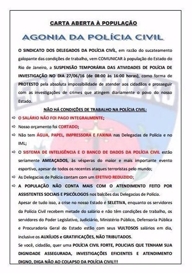 Policiais civis do R Jenviaram carta aberta à população (Foto: Divulgação)