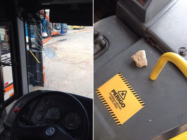 Dois coletivos da empresa Pedrosa foram atingidos por pedras na tarde desta terça-feira (14) (Foto: Reprodução / WhatsApp)
