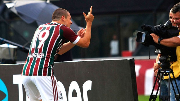 Wagner comemora gol do Fluminense contra o Nova Iguaçu (Foto: Nelson Perez / Fluminense. F.C.)