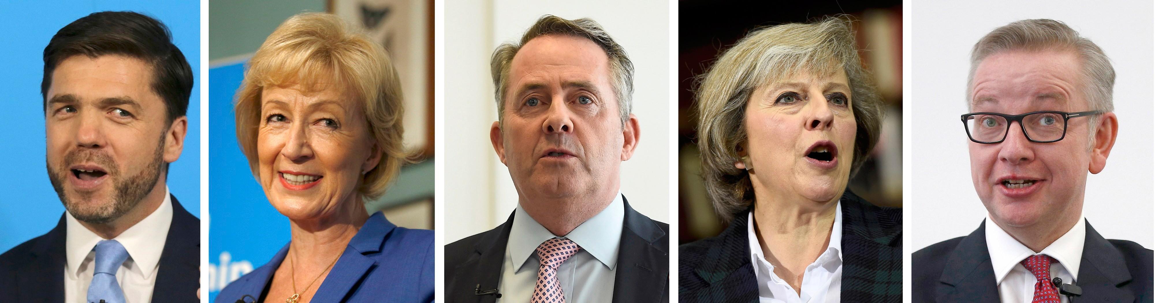Stephen Crabb, Andrea Leadsom, Liam Fox, Theresa May e Michael Gove concorrem ao cargo de premiê britânico. Partido Conservador iniciou processo de escolha para sucessor do David Cameron nesta terça-feira (5) (Foto: Reuters)