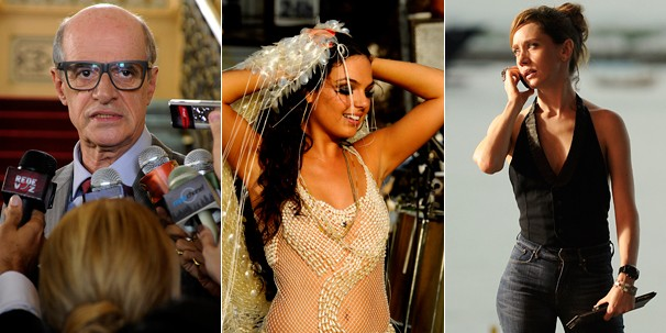 Governador Jotabê (Marcos Caruso), Sereia (Isis Valverde) e Mara (Camila Morgado), alvos da investigação (Foto: Estevam Avellar/Rede Globo)