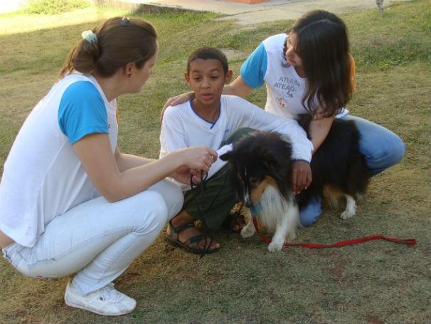 Criança interagindo com cães, que também são animais usados na zooterapia (Foto: Divulgação)