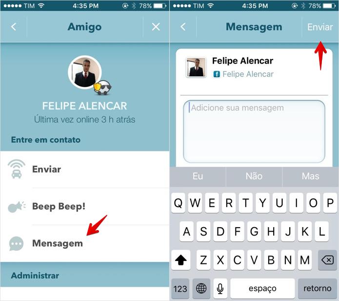 Enviando uma mensagem no Waze (Foto: Reprodução/Helito Bijora)
