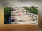 Moradores do bairro da Cremação reclamam de ponte quebrada