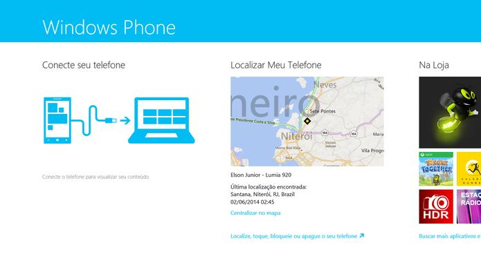 Windows Phone 8 pode transferir imagens com PC através do aplicativo do Windows 8 (Foto: Reprodução/Elson de Souza)