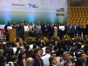 Em Uberlândia, presidente Dilma fala sobre investimentos para a região (Foto: Fernanda Resende)