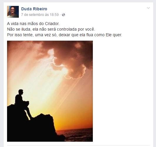 Último post de Duda Ribeiro no Facebook (Foto: Reprodução/Facebook)