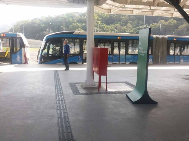 Do Parque Olímpico ao Maracanã, as estações estavam vazias (Foto: Cristina Boeckel/G1 Rio)