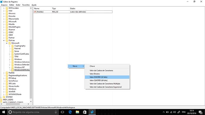 Crie um novo valor na chave do Windows Ink Workspace (Foto: Reprodução/Elson de Souza)