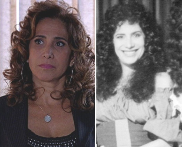 Totia Meirelles como Wanda (2012) e na pele de Monah em Que Rei Sou Eu? (1989) (Foto: Vídeo Show / TV Globo)