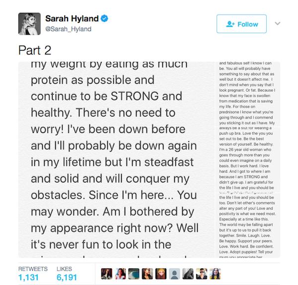 O texto divulgado pela atriz Sarah Hyland nas redes sociais (Foto: Twitter)