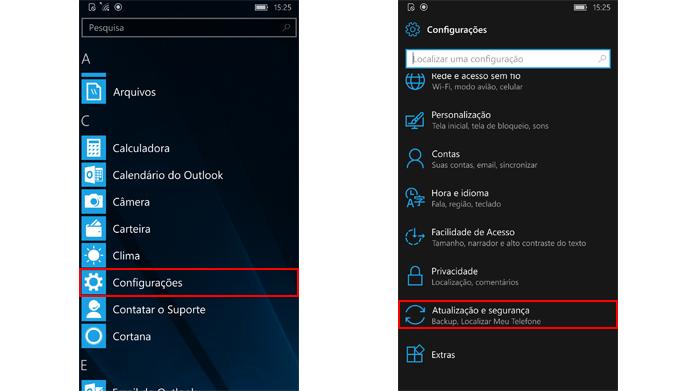 Configurações do telefone permitem baixar atualizações de segurança (Foto: Reprodução/Windows)
