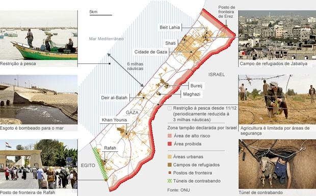 mapa gaza (Foto: BBC)