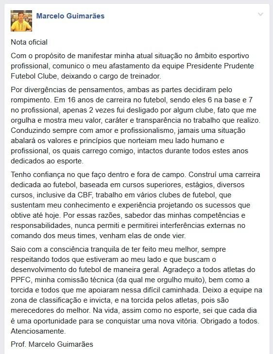 Marcelo Guimarães, postagem rede social, desabafo, Presidente Prudente (Foto: Facebook / Reprodução)