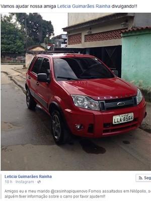 O carro de Letícia e Cesinha, roubado em Nilópolis (Foto: Reprodução da internet)