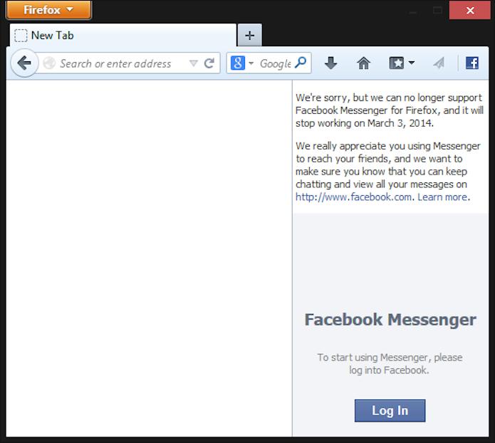 Firefox também avisa que Facebook Messenger não vai mais funcionar no browser (Foto: Reprodução/Mozilla Firefox)