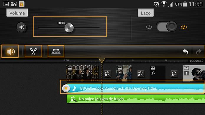 Funções para a edição da trilha sonora no KineMaster (Foto: Reprodução/Barbara Mannara)