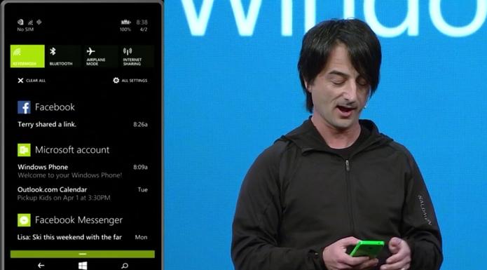 Central de notificações Action Center poderá ser acessada com um gesto no topo da tela, como no Android (Foto: Divulgação)