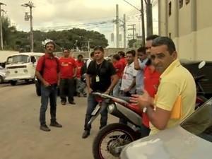 motoristas pararam garagens e terminais no Dia Nacional de Luta (Foto: TV Verdes Mares/Reprodução)