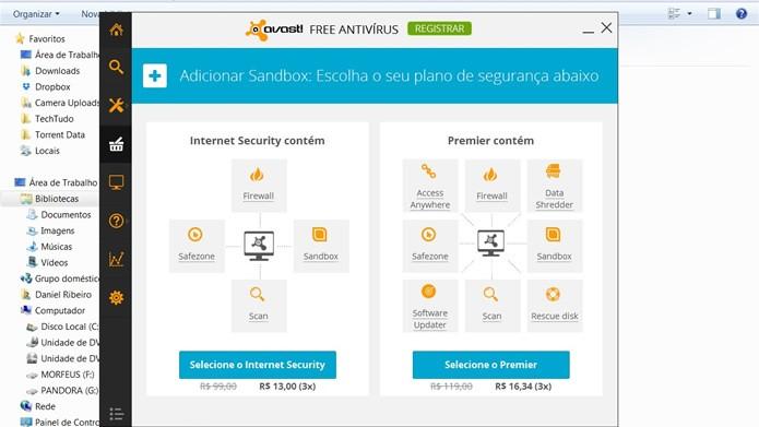 O Avast e o Comodo possuem serviços de Sandbox, mas é necessário pagar para ativá-los (Foto: Reprodução/Daniel Ribeiro)