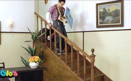 Daniel cai da escada