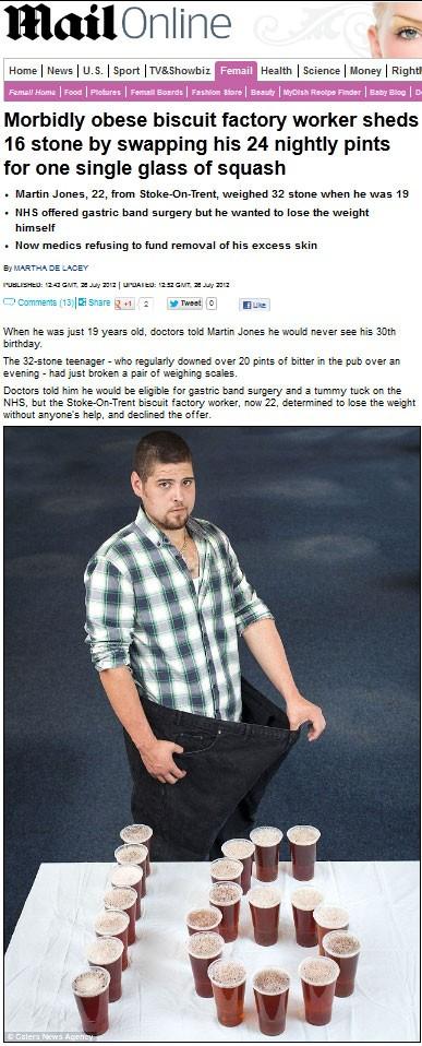 O jovem Martin Jones, que perdeu 101 quilos ao abandonar a cerveja (Foto: Reprodução/Daily Mail)